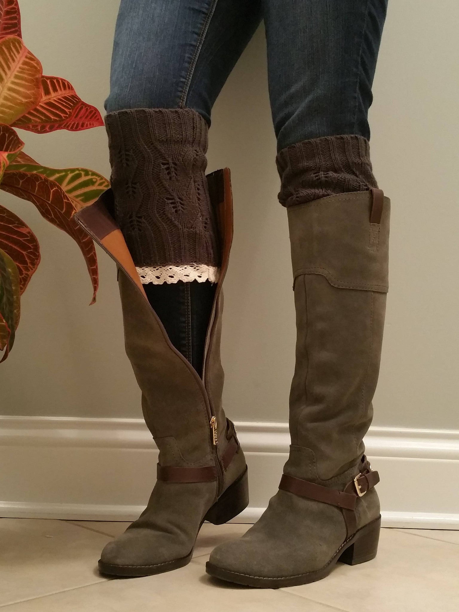 Charcoal with lace Legwarmers, Gray Charcoal Lacy Boot Socks, Boot Cuffs