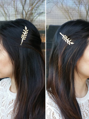 Woman wearing a branch hair bobby pin for a wedding