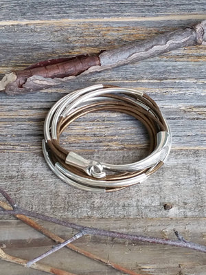 Brown leather wrap, Leather Bracelets - Bedao Boutique