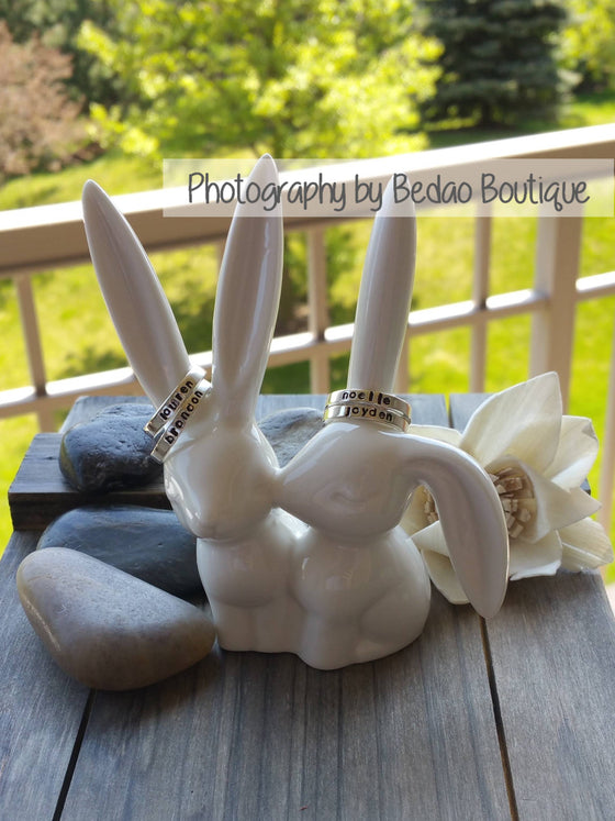Kissing Bunnies Ring Holder, Ceramic Ring Holder