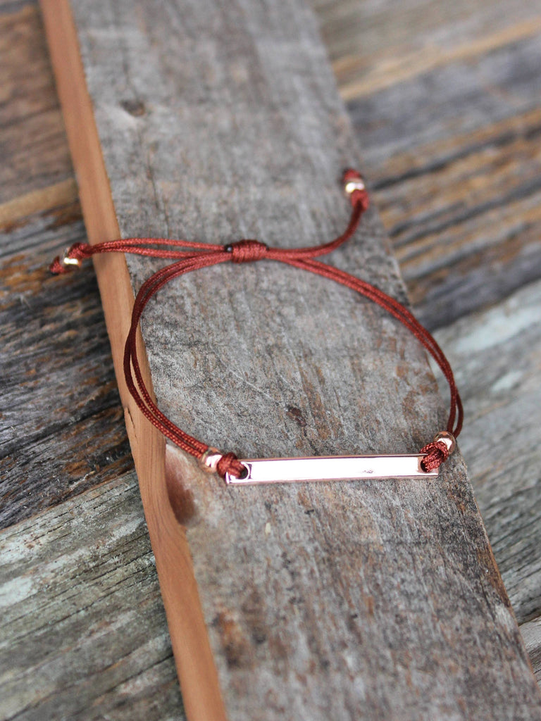 Dainty rose gold personalized bracelet with burgundy nylon cord