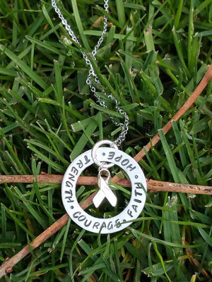 Personalized circle pendant with cancer awareness symbol charm necklace