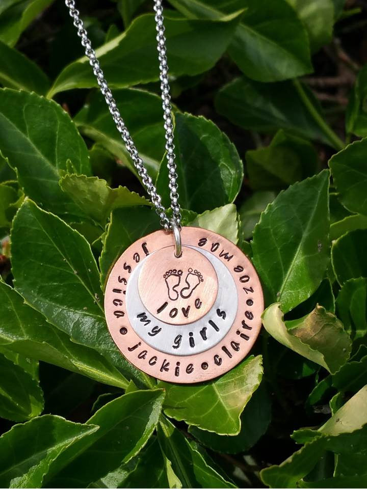 3 Personalized layered circle pendants with baby feet necklace for mom or grandma