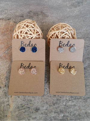 Gold Earrings, Druzy Earrings, Druzy Studs, Bridal Earrings, Bridesmaid Earrings, Bridesmaid Gifts - Bedao Boutique