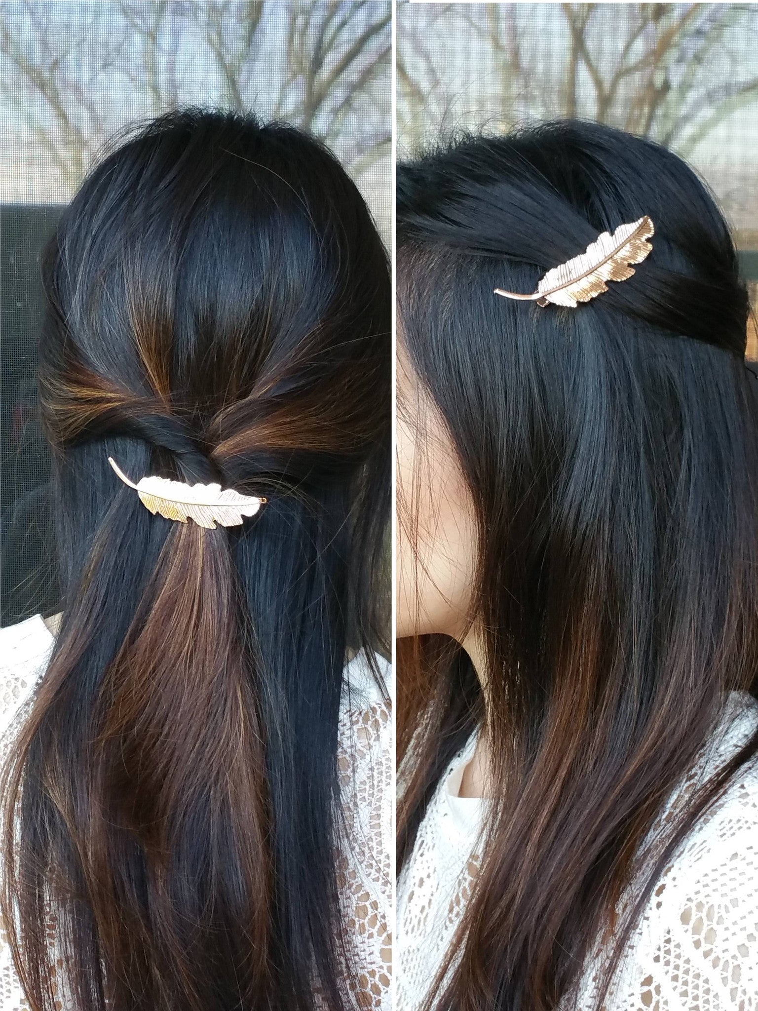 Feather Hair Clip, Leaf Hair Clips, Leaves Hair Accessories, Wedding Hair Accessories, Wedding Hair, Bridesmaid Hair, Bridesmaid Hair Accessories - Bedao Boutique