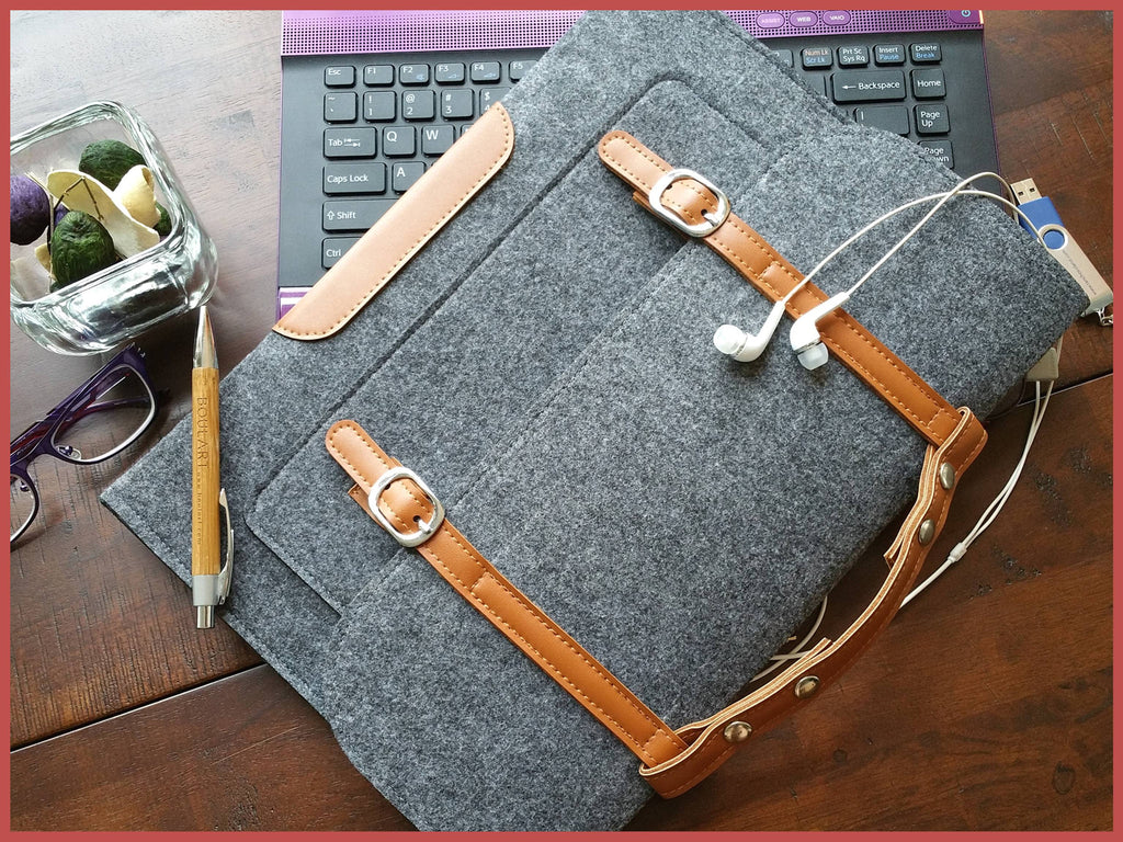 Gray Felt Notebook Case with handle, Felt Laptop Cases, Felt Folio Cases, Documents Holder