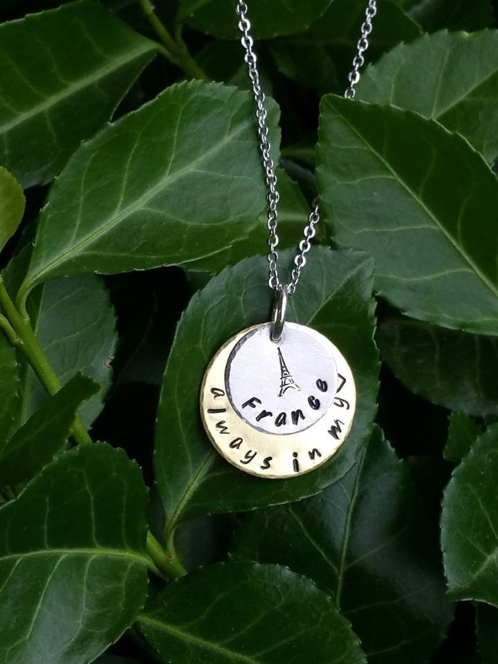 Personalized layered circles pendant with eiffel tower necklace