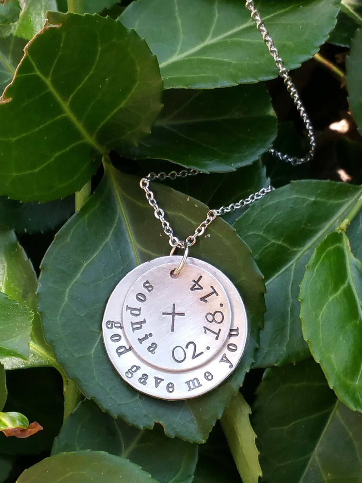 Personalized religious necklace with cross