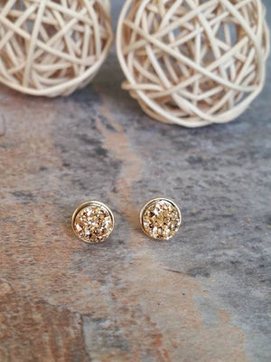 Gold Druzy Earrings, Gold Studs, Druzy Studs  - Bedao Boutique