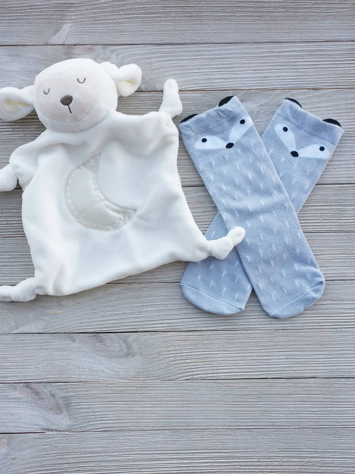 Light Gray Baby Fox Socks, Baby Gifts, Fox Socks, Toddler Socks