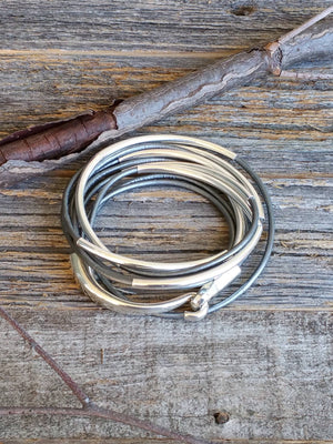 Gray Genuine Leather Wrap Bracelet