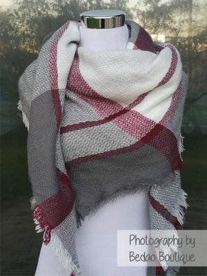 Blanket Scarf (Gray, Red, White)