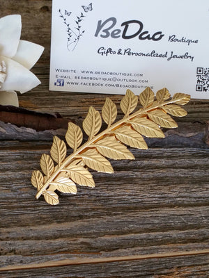 Laurel Leaf Hair Barrette, Grecian Hair, Leaf Hair Clips, Leaves Hair Accessories, Wedding Hair Accessories, Wedding Hair, Bridesmaid Hair, Bridesmaid Hair Accessories - Bedao Boutique