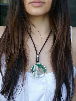 Green Tree Charm Necklace