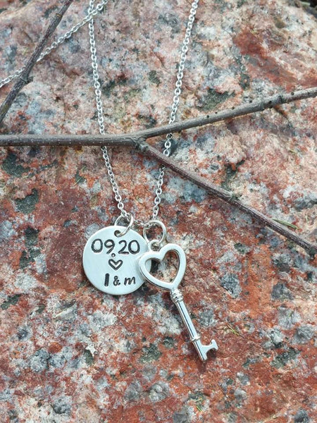 Personalized small circle pendant with heart shape key necklace