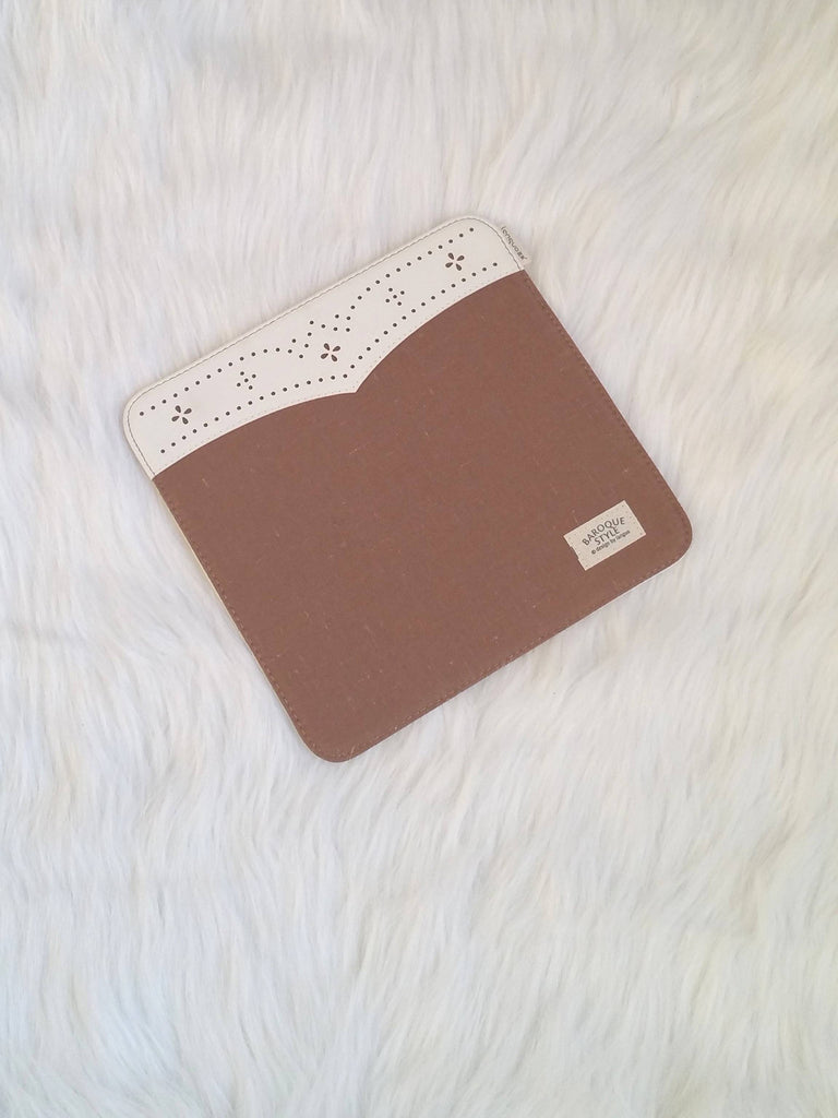 Brown mouse Pad with lace, Office Mouse Pads, Office Gifts, Co-worker Gifts