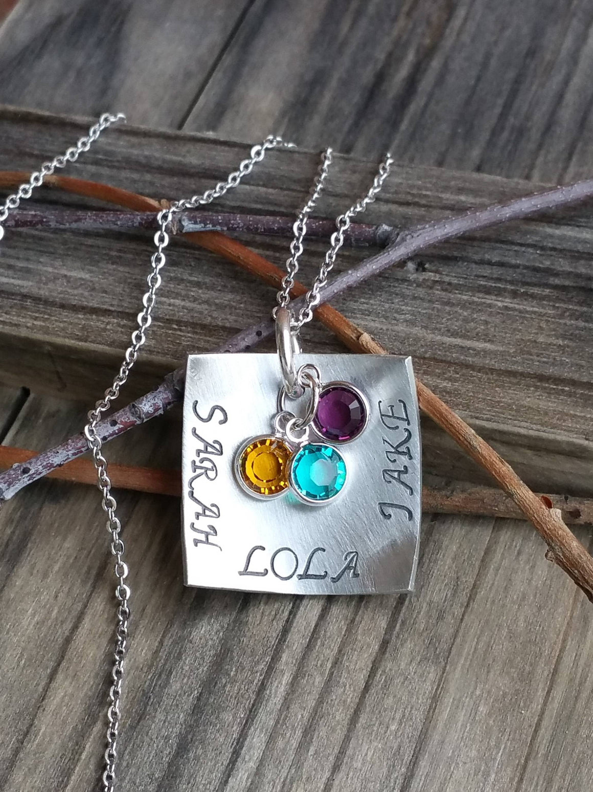 Personalized silver square pendant with birthstones necklace for her