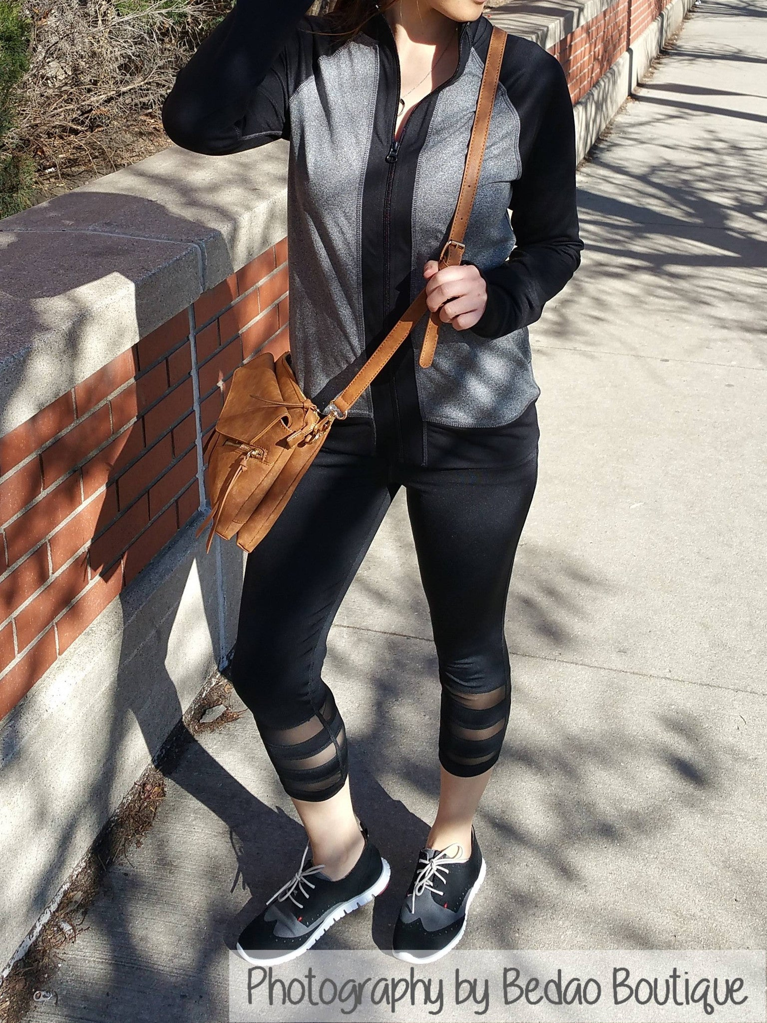 Woman wearing sexy mesh leggings