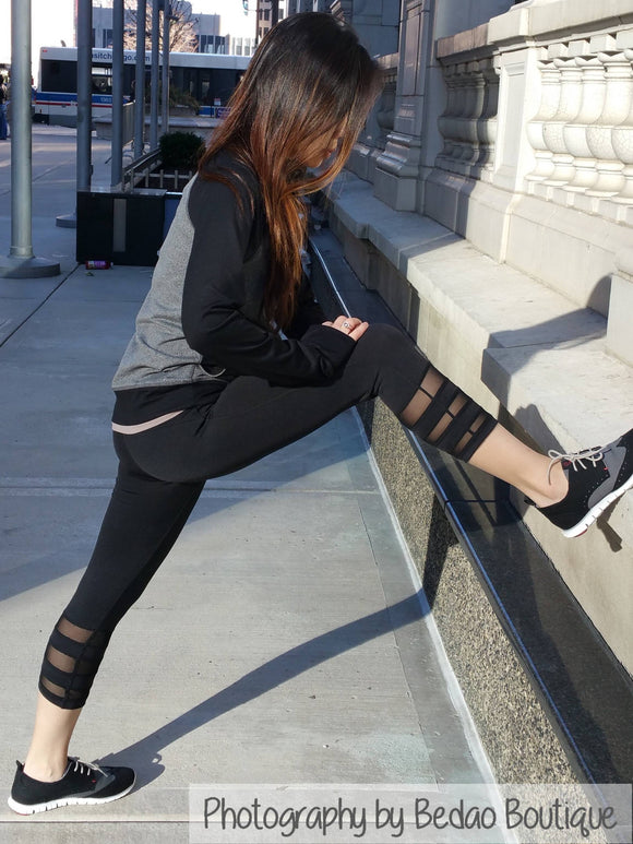 Mesh Leggings, Black Leggings, Sexy Leggings, Yoga Leggings, Yoga Pants - Bedao Boutique