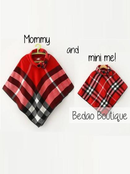 Mommy and Me Ponchos, Mommy and Me Matching Outfits, Girls Ponchos, Baby Ponchos, Trendy Ponchos, Plaid Ponchos, Cute Girls Ponchos - Bedao Boutique