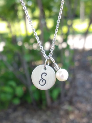 Personalized small silver circle with pearl charm necklace