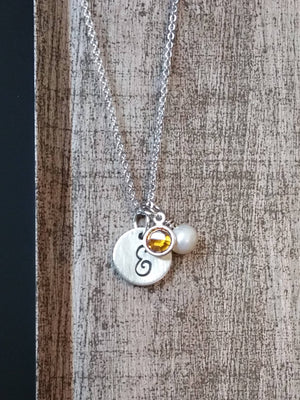 Personalized small silver circle with pearl charm and birthstone necklace