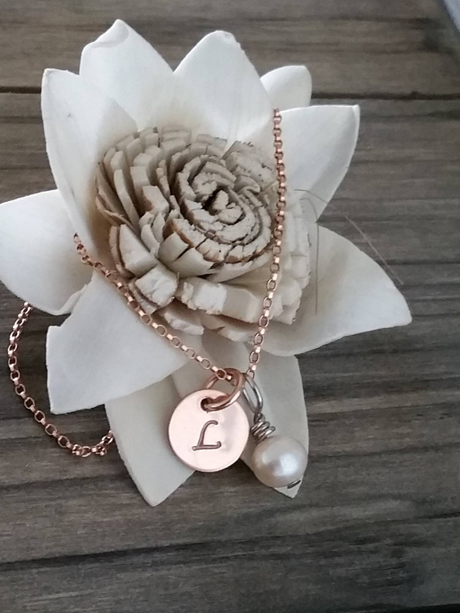 Personalized small rose gold circle with pearl charm necklace