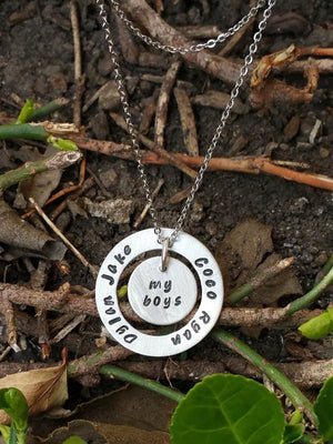 Personalized circle washer pendant with a middle circle necklace for mom or grandma