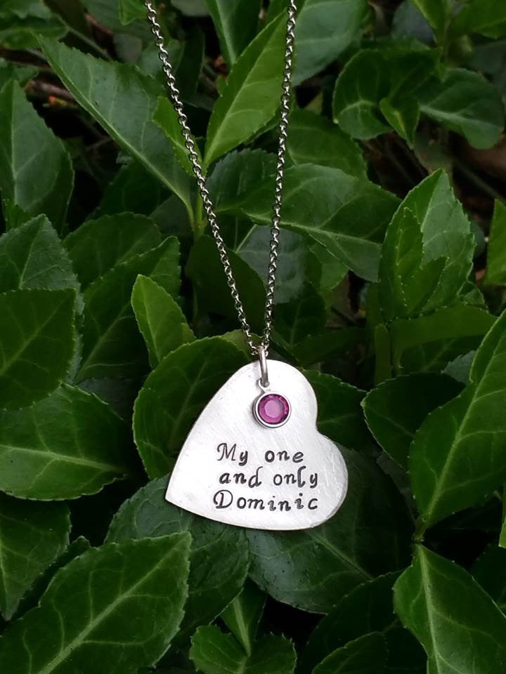 Personalized heart pendant with birthstones necklace