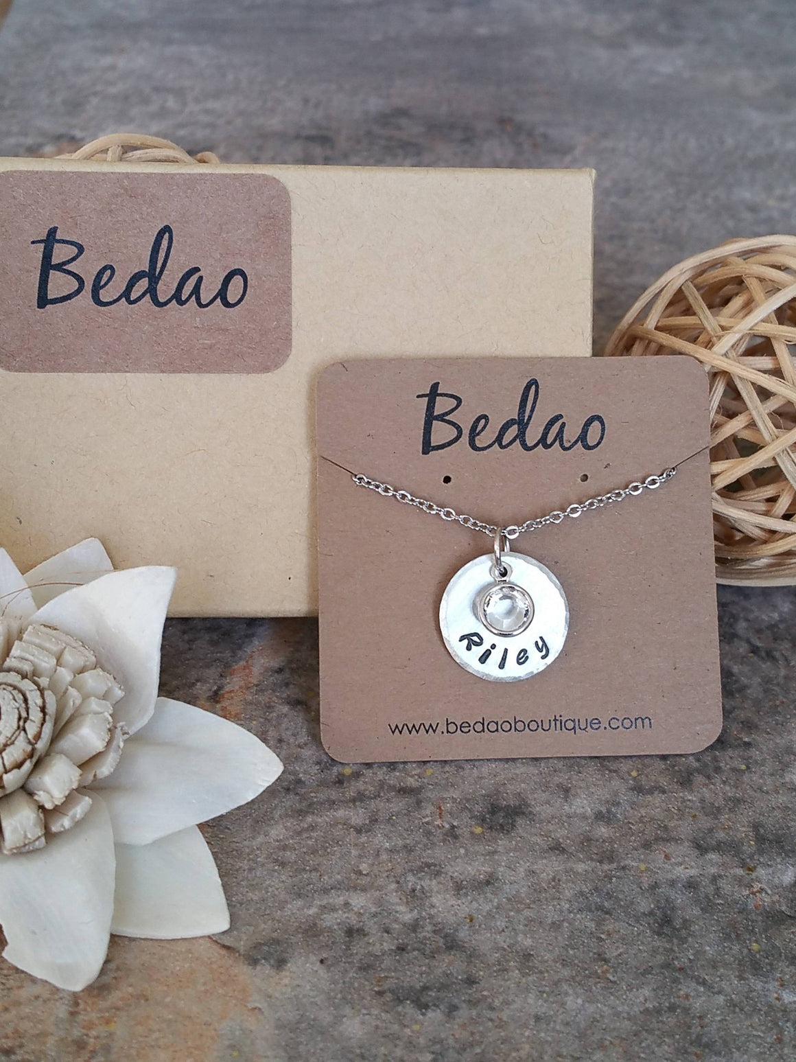 Personalized name with a birthstone necklace