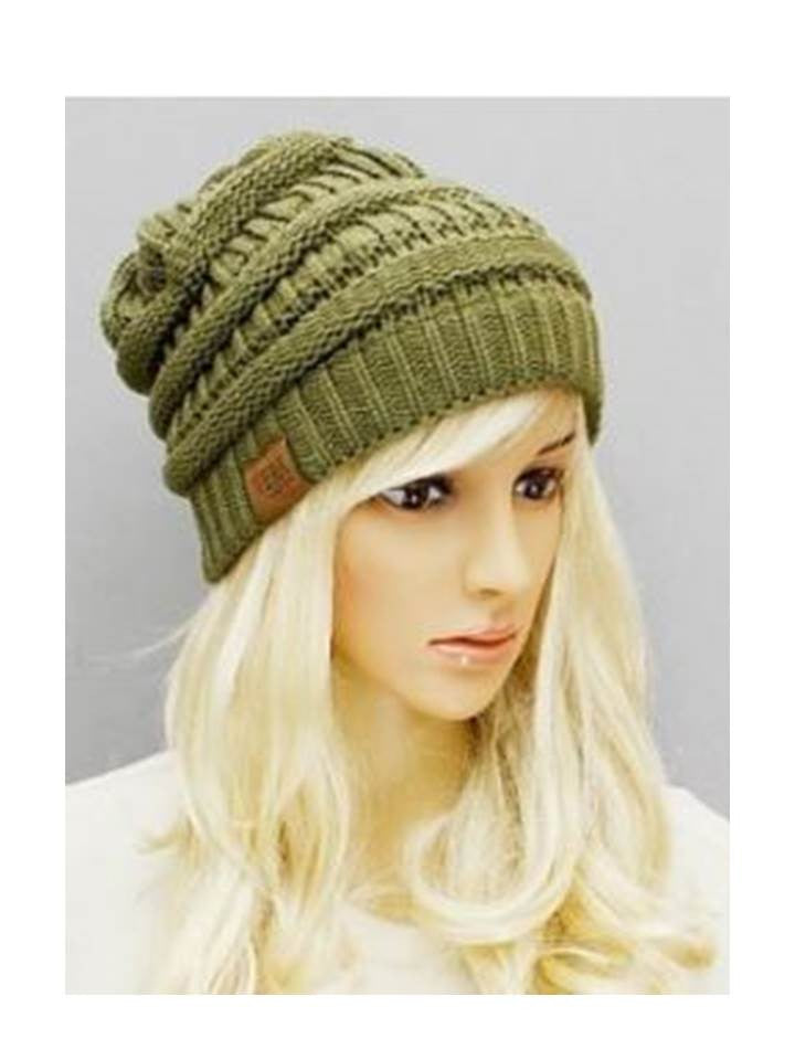 Olive Green Beanie slouchy hat
