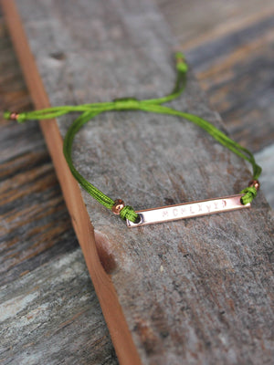 Dainty rose gold personalized bracelet with olive green nylon cord
