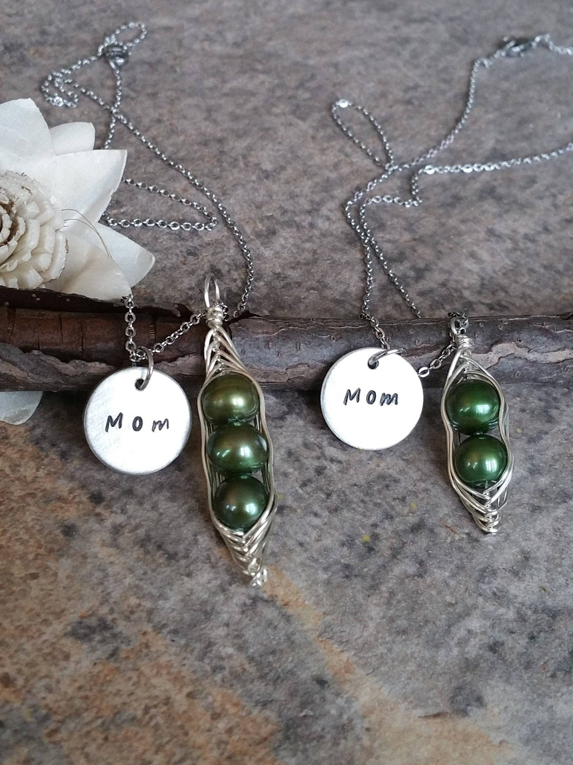 Personalized green peas in a pod necklace for mom