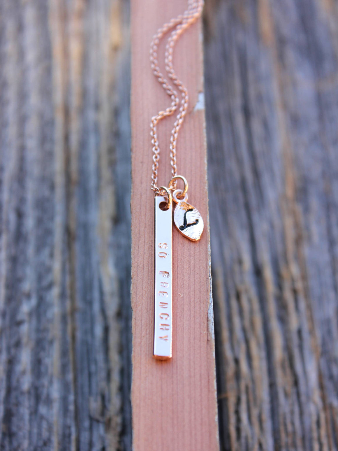 Personalized rose gold vertical bar with initial leaves necklace