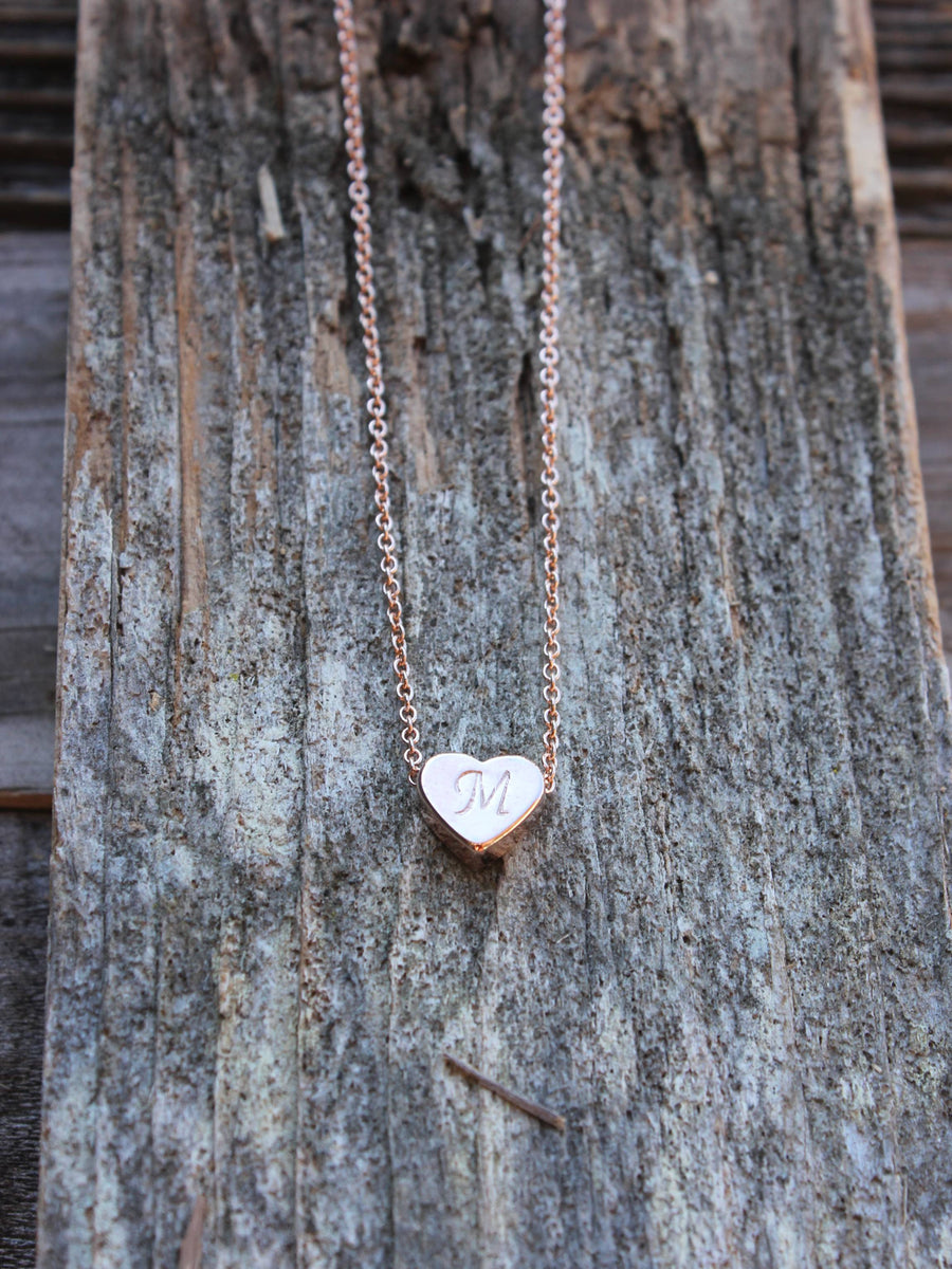 Personalized heart charm necklace in rose gold