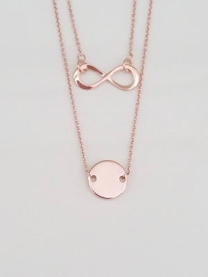 Dainty rose gold layered disc with infinity charm necklace