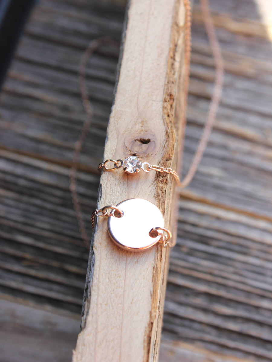 Dainty rose gold layered disc with cubic zirconia charm necklace