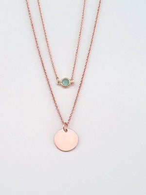 Dainty rose gold personalized layered disc with mint glass charm necklace