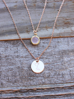 Dainty rose gold personalized layered disc with rose glass charm necklace