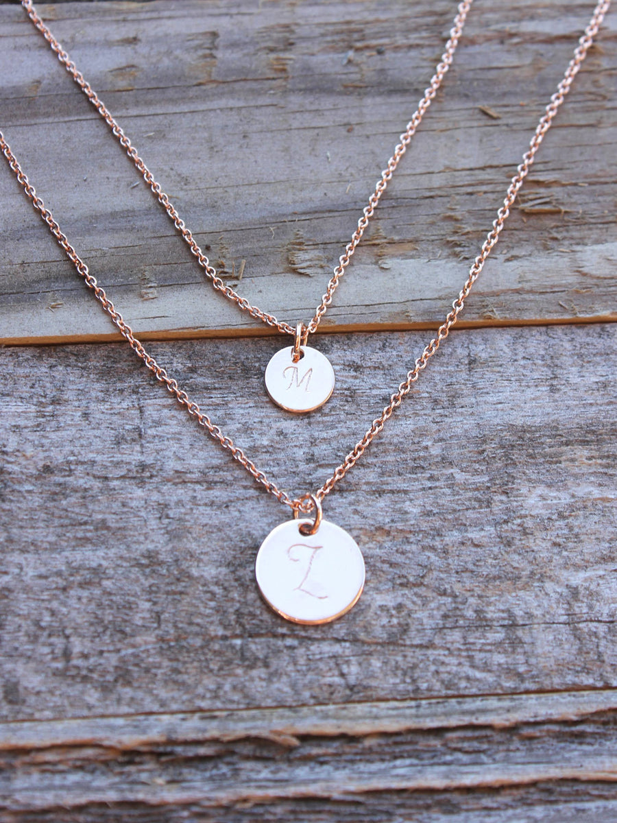 Dainty rose gold personalized layered 2 discs necklace