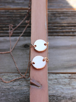 Dainty rose gold slanted layered 2 discs necklace