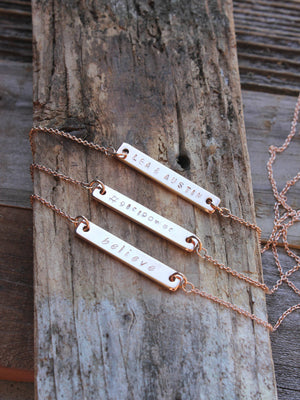 Dainty rose gold personalized bar necklace