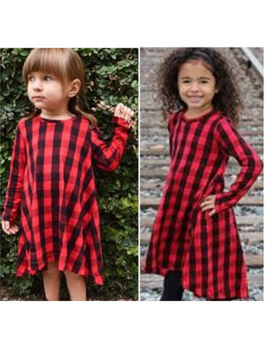 Girls Buffalo Red & Black Shoulder Asymmetrical Dress