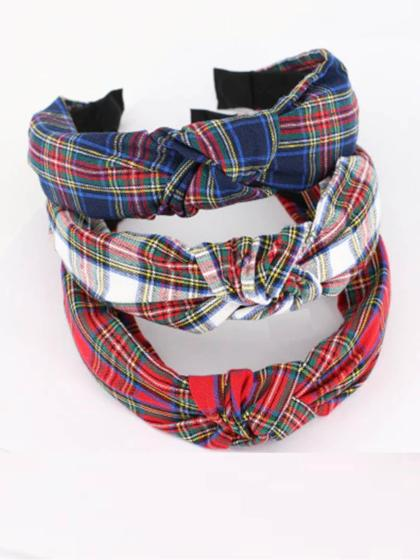 Tartan Blue Retro Knot Headband
