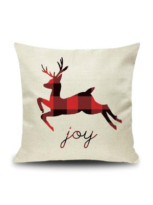 "Plaid ""Jumping Deer"" Pillow Case"