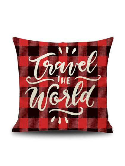 "Plaid Pillow ""Travel the World"" Case"