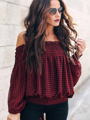 Plaid Off the Shoulder Red & Black Long Sleeve Blouse - SIGN UP FOR RESTOCK