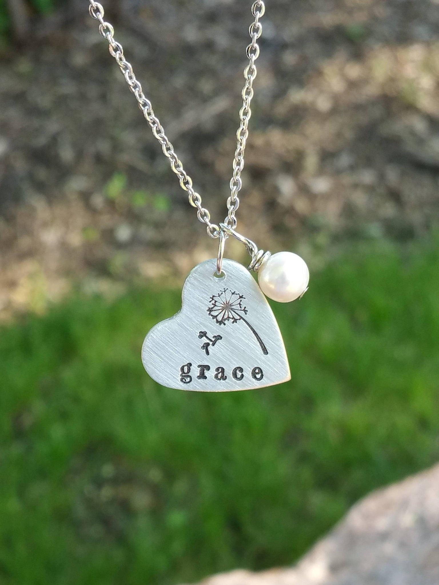 Personalized silver heart pendant with a pearl charm necklace