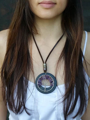 Purple Tree Charm Wooden Necklace