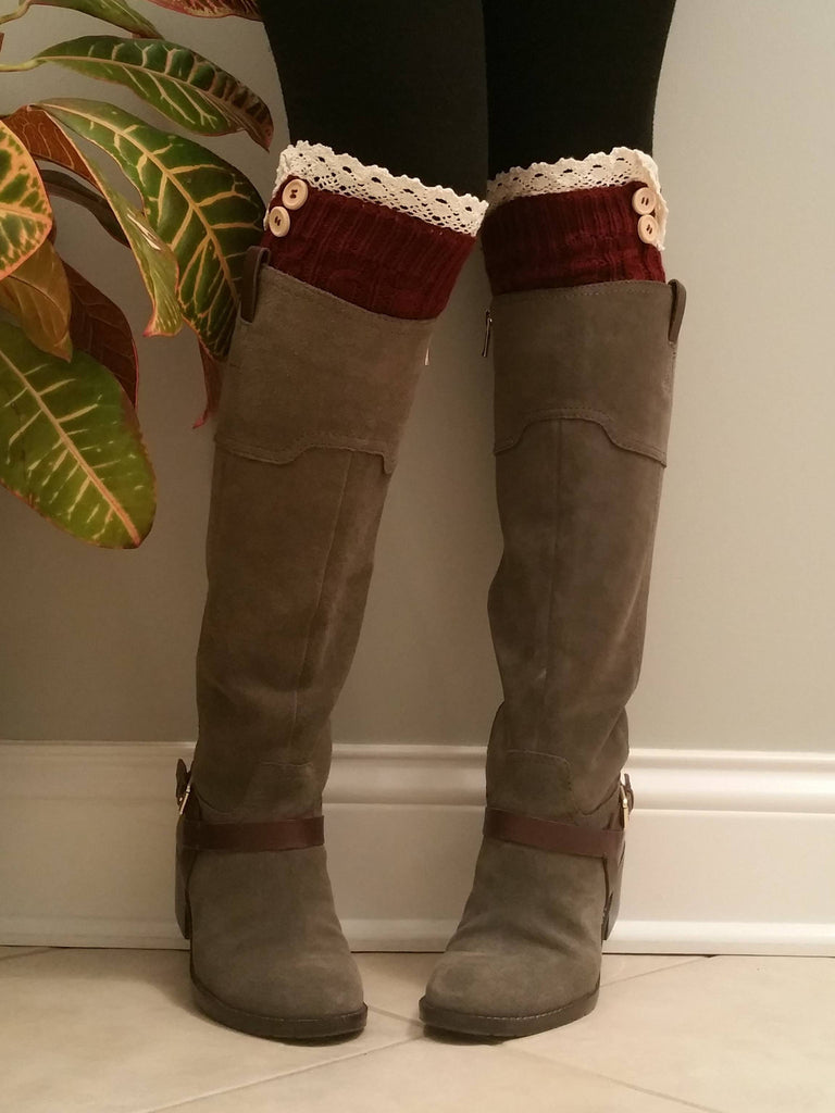 Red with lace Legwarmers, Red Lacy Boot Socks, Boot Cuffs